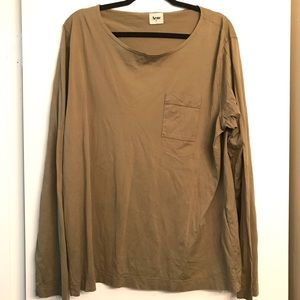 Acne Olive Cotton Long Sleeve Tee size XL
